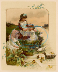 CHILDREN FEED DUCKS 1889