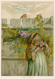GIRL WITH DOVES C1890