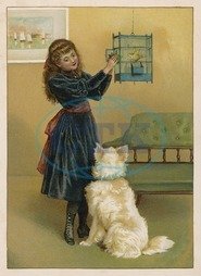 GIRL WITH BIRD AND DOG