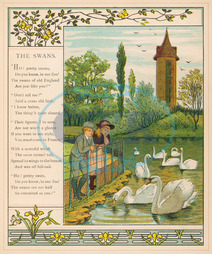 CHILDREN FEED SWANS 1882