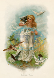 GIRL AND DOVES C1880