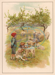 CHILDREN WITH LAMBS 1891