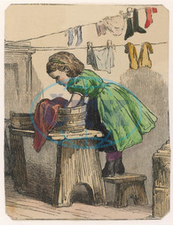 GIRL WASHES CLOTHES 1870
