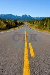 Travel, road, highway, straight, yellow, line, auto route, nobody, mountains, Rocky mountains, Rockies, scenic, autumn, traveling, concepts, Robert McGouey, Alberta, Canada, Canadian, fall, landscape, trees, nature, vertica