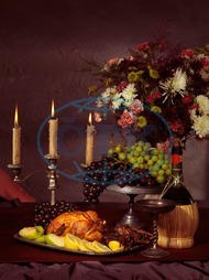 Oleksiy Maksymenko, photography, feast, dinner, festive, food, table, still life, artistic, fine art, fruits, wine, bottle, chicken, vintage, grapes, old, nobody, meal, plate, roasted, roast, wine glass, tray, candles, candel