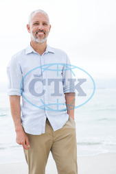 40s, Mature Adult, Man, Male, Caucasian, Outdoors, Summertime, Holidays, Sunny, Vacation, Coastline, Shore, Beach, Lifestyle, Leisure, Spare Time, Free Time, Weekend Activities, Happiness, Sea, Ocean,  Free, Freedom, Caref