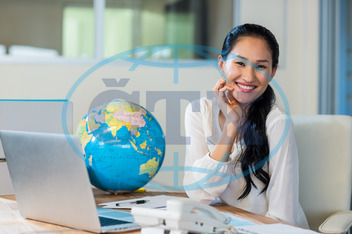 20s, Young Adult, Woman, Female, Asian, Indoors, Travel Agent, Occupation, Travel, Business, Map, Cartography, Journey, Destination, World Map, Exploration, Vacations, Tourist, Happy, Smiling, Cheerful, Laptop, Notebook, Te