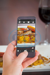 Close-up, Restaurant, Catering, Cuisine, Culinary, Dinner, Dish, Food, Fresh, Hotel, Ingredient, Lunch, Meal, Plate, Couscous, Meat, Duck Breast, Sauce, Hot, Tasty, Delicious, Gourmet, Apple, Slice, Wine Glass, Hand, Screen, Di