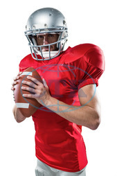 20s, Young Adult, Man, Male, Caucasian, Looking At Camera, White Background, Serious, Isolated, Football Player, American Football - Sport, American Football Player, Quarterback, Sport, Competitive Sport, Red, Sports