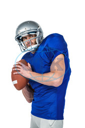 20s, Young Adult, Man, Male, Caucasian, Looking Away, White Background, Isolated, Football Player, American Football - Sport, American Football Player, Quarterback, Sport, Competitive Sport, Blue, Sports Uniform, Com