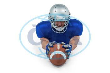 20s, Young Adult, Man, Male, Caucasian, White Background, Football Player, American Football - Sport, American Football Player, Quarterback, Sport, Competitive Sport, Ball, Football, Equipment, Activity, Strength, Blu