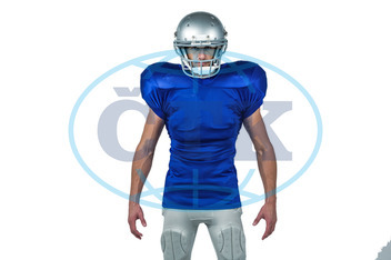20s, Young Adult, Man, Male, Caucasian, Looking At Camera, White Background, Isolated, Football Player, American Football - Sport, American Football Player, Quarterback, Sport, Competitive Sport, Blue, Sports Unifor