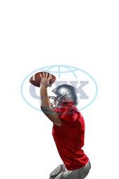 20s, Young Adult, Man, Male, Caucasian, Copy Space, White Background, Isolated, Football Player, American Football - Sport, American Football Player, Quarterback, Sport, Competitive Sport, Blue, Sports Uniform, Compe