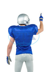 20s, Young Adult, Man, Male, Caucasian, White Background, Isolated, Football Player, American Football - Sport, American Football Player, Quarterback, Sport, Competitive Sport, Blue, Sports Uniform, Competition, Spor