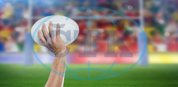 20s, Young Adult, Man, Male, Caucasian, Rugby, Sport, Event, World, Cup, Pitch, Leisure, Digital, Digitally Generated, Computer Graphic, Goal, Goalpost, Stadium, Posts, Football Player, American Football - Sport, American