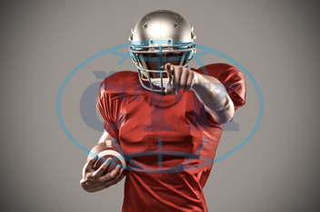 20s, Young Adult, Man, Male, Caucasian, Digital, Digitally Generated, Computer Graphic, Grey, Vignette, Football Player, American Football - Sport, American Football Player, Sport, Competitive Sport, Activity, Focuse