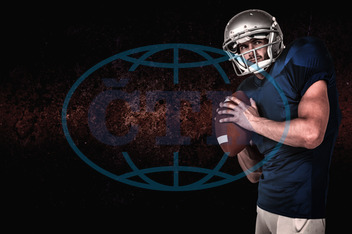 20s, Young Adult, Man, Male, Caucasian, Looking Away, Background, Design, Red, Football Player, American Football - Sport, American Football Player, Quarterback, Sport, Competitive Sport, Blue, Sports Uniform, Competi