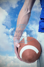20s, Young Adult, Man, Male, Caucasian, Close-up, Blue, Sky, Sunlight, Cloudy, Sunshine, Clouds, Bright, Football Player, American Football - Sport, American Football Player, Sport, Competitive Sport, Sports Uniform, Co