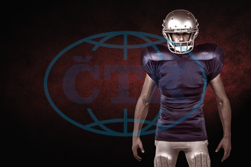 20s, Young Adult, Man, Male, Caucasian, Looking At Camera, Background, Design, Red, Black, Football Player, American Football - Sport, American Football Player, Quarterback, Sport, Competitive Sport, Blue, Sports Unif