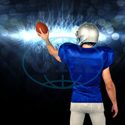 20s, Young Adult, Man, Male, Caucasian, Light, Spotlight, Bright, Shining, Football Player, American Football - Sport, American Football Player, Quarterback, Sport, Competitive Sport, Blue, Sports Uniform, Competition
