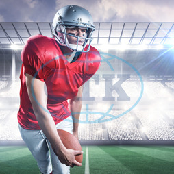 20s, Young Adult, Man, Male, Mixed-Race, Looking Away, Event, Stadium, Arena, Spotlights, Pitch, Grass, Green, Lights, Crowd, Fans, Football Player, American Football Player, Sport, Competitive Sport, Red, Sports Uniform,