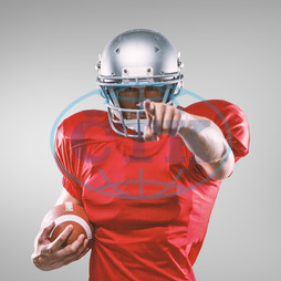 20s, Young Adult, Man, Male, Caucasian, Looking At Camera, Digital, Digitally Generated, Computer Graphic, Colour, Vignette, Grey, Football Player, American Football - Sport, American Football Player, Sport, Competit