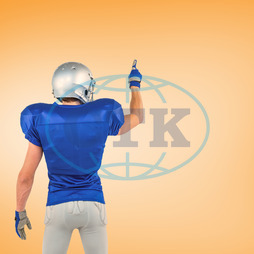 20s, Young Adult, Man, Male, Caucasian, Digital, Digitally Generated, Computer Graphic, Colour, Vignette, Orange, Football Player, American Football - Sport, American Football Player, Quarterback, Sport, Competitive