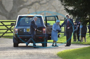 HM The Queen attends church at Sandringham