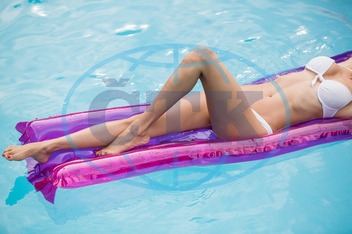 30s, Mid Adult, Woman, Female, Caucasian, Outdoors, Relaxing, Inflatable Raft, Swimming Pool, Leisure, Spare Time, Free Time, Activities, Time Off, Pool, Water, Leisure Activity, Healthy Lifestyle, Inflatable, Floating