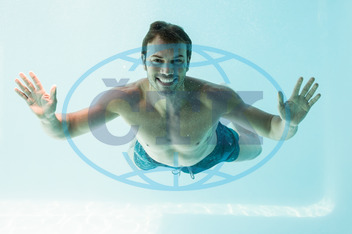 30s, Mid Adult, Man, Male, Caucasian, Happiness, Smiling, Cheerful, Swimming, Smart, Handsome, Underwater, Water, Swimming Pool, Shirtless, Leisure, Spare Time, Free Time, Activities, Time Off, Carefree, Relaxing, Holidays