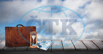 Blue, Sky, Sunlight, Clear, Sunshine, Clouds, Cloudy, Wooden, Table, Desk, Suitcase, Brown, White Background, Travel, Tourism, Tourist, Travelling, Vacation, Holidays, Discover, Sand Glass, Hourglass, Map, World Wide, Earth,