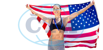30s,  Mid Adult,  Woman,  Female,  Caucasian,  Cup,  Trophy,  Prize,  Winner,  Winning,  Holding,  Success,  Happy,  Smiling,  Cheerful,  Stars And Stripes,  American Flag,  Usa,  Patriotism,  Old Glory,  Star-spangled B