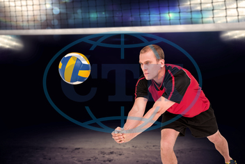 30s, Mid Adult, Man, Male, Caucasian, Close-up, Looking Away, Volleyball, Set, Athlete, Sports, Olympic, Sport, Sport Field, Play, Sportsman, Blue, White, Lights, Spotlight, Stage, Bright, Lighting, Computer Graphic, Digital