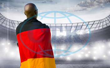 20s, Young Adult, Man, Male, Black, Athlete, Wearing, German, Flag, Stadium, Event, Arena, Spotlights, Lights, Crowd, Fans, Banner, Rear View, Sport, Competition, Draped, Portrait, Sky, Cloud, Cloudy, Photographer