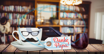 Board,  Plank,  Cup,  Mug,  Beverage,  Coffee,  Mustache,  Glasses,  Fathers Day,  Danke Papa,  Father,  Dad,  Daddy,  Exclamation,  Exclamation Mark,  Pipe,  Hat,  Wood,  Wooden,  Plant,  Sign,  Message,  Table,  Desk