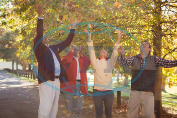 60s, Senior, Elderly, Man, Male, Mixed-Race, Outdoors, Together, Park, Leisure, Spare Time, Free Time, Lifestyles, Leisure Activity, Casual Clothing, Bonding, Togetherness, Nature, Autumn, Season, Smiling, Happiness, Cheer