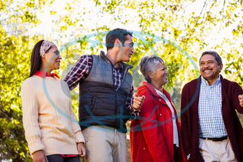 60s, Senior, Elderly, Man, Male, Mixed-Race, Outdoors, Together, Park, Leisure, Spare Time, Free Time, Lifestyles, Leisure Activity, Casual Clothing, Bonding, Togetherness, Nature, Autumn, Season, Happiness, Cheerful, Smil