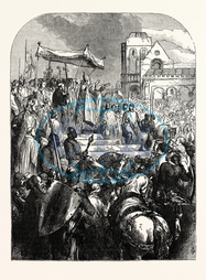 pontiff, Bishop of Rome, Holy Father, pope urban ii., preaching, first, crusade, market place, clermont, nineteenth century engraving, engraved image, history, illustrative technique, engravement, victorian, arts, cu