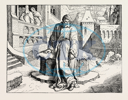 henry IV., courtyard, pontiff, Bishop of Rome, Holy Father, pope, cassa, nineteenth century engraving, engraved image, history, illustrative technique, engravement, victorian, arts, culture, retro styled, vintage, ret