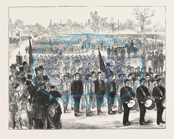 DRILL, INSPECTION, BOYS, ATTENDING, SCHOOLS, CONTROL, SCHOOL BOARD, LONDON, REGENTS PARK, LONDON, ENGRAVING, 1876, UK, britain, british, europe, united kingdom, great britain, european, engraved image, history, historic a