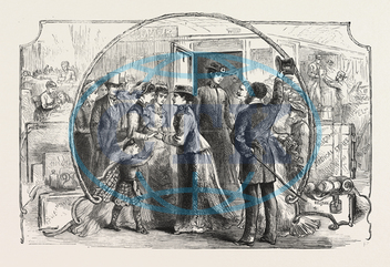 AID, SICK, WOUNDED, EAST, LADY, NURSES, LEAVING, VICTORIA STATION, TUESDAY, 8TH, INST., SERVIA, SERBIA, ENGRAVING, 1876, engraved image, history, historic art, illustrative technique, engravement, Arts, Culture, 19th Centu