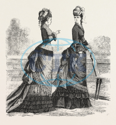 FASHION, TWO, NEW, WALKING COSTUMES, COSTUME, ENGRAVING, 1876, UK, britain, british, europe, united kingdom, great britain, european, engraved image, history, historic art, illustrative technique, engravement, Arts, Cult
