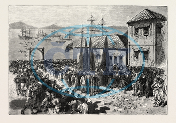 WAR, EAST, DISEMBARKMENT, BAND, SOFTAS, SALONICA, EN ROUTE, SERVIA, SERBIA, ENGRAVING, 1876, engraved image, history, historic art, illustrative technique, engravement, Arts, Culture, 19th Century Style, Retro Styled, Vi