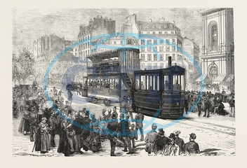 NEW, ENGINE, PROPELLING, TRAMWAY CARS, TRAMWAY, USE, PARIS, MONTPARNASSE, BRIDGE OF AUSTERLITZ, FRANCE, ENGRAVING, 1876, engraved image, history, historic art, illustrative technique, engravement, Arts, Culture, 19th Ce