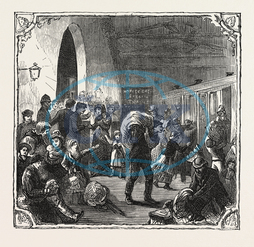 HOPS, HOP, PICKERS, KENTISH, HOP GARDEN, KENT, ENGLAND, LEAVING, LONDON, SKETCH, VICTORIA, RAILWAY, STATION, ENGRAVING, 1876, UK, britain, british, europe, united kingdom, great britain, european, engraved image, history, hi