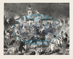 TURKO, SERVIA, WAR, ARNAUTS, CIRCASSIANS, BURNING, PETROLEUM, VILLAGE, TESICA, ENGRAVING, 1876, engraved image, history, historic art, illustrative technique, engravement, Arts, Culture, 19th Century Style, Retro Styled
