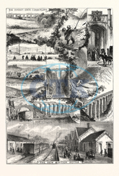 MIDLAND RAILWAY, SETTLE, CARLISLE, ENGRAVING, 1876, UK, britain, british, europe, united kingdom, great britain, european, engraved image, history, historic art, illustrative technique, engravement, Arts, Culture, 19th