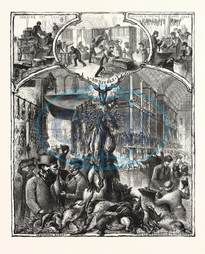 SHOOTING, SEASON, GAME, LONDON, MARKETS, ENGRAVING, 1876, UK, britain, british, europe, united kingdom, great britain, european, engraved image, history, historic art, illustrative technique, engravement, Arts, Culture, 1