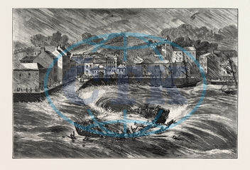 FATAL, FERRY-BOAT, ACCIDENT, YOUGHAL, HARBOUR, COUNTY CORK, ENGRAVING, 1876, IRELAND, europe, european, engraved image, history, historic art, illustrative technique, engravement, Arts, Culture, 19th Century Style, Retr