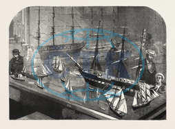 MODEL, FLEET, VESSELS, PHILADELPHIA, EXHIBITION, FULL, RIGGED, SHIP, YACHT, TOP, SAIL, SCHOONER, CAT-BOAT, STEAM, FRIGATE, BARQUE, PILOT, BOAT, SAIL, BOAT, ENGRAVING, 1876, USA, America, United States, engraved image, history,